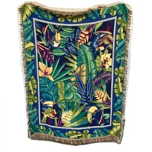 Tropical Toucan Bird Floral Tapestry Throw Blanket